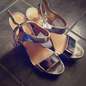 Nine West Shoes - Silver platform heels