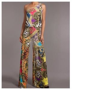 Other - RESERVED Baroque One Shoulder Palazzo Jumpsuit