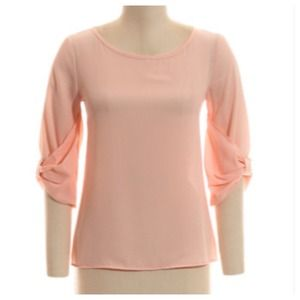 Tops - LAST PIECE Peach Top + 3/4 Bow Sleeve Cuffs