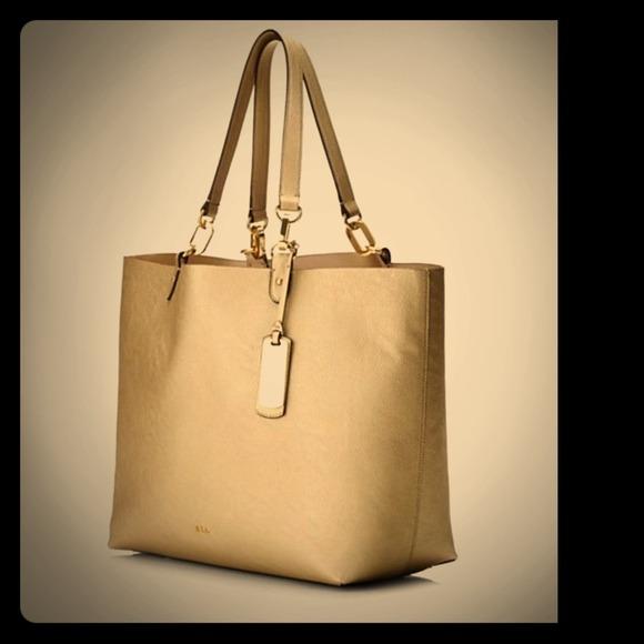 b3e63cac07 Ralph Lauren Bembridge II large tote gold purse