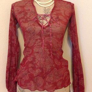 H&M sheer burgundy paisley top with ties