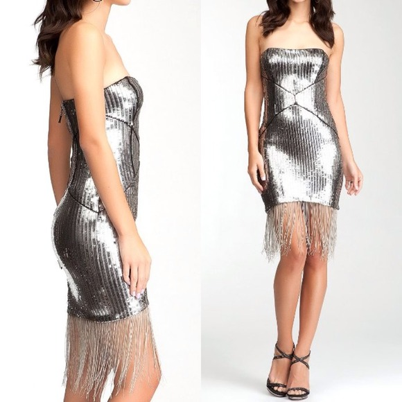 Bebe grey metallic silver sequin fringe dress 57846b22c