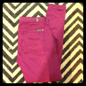 7 FOR ALL MANKIND Magenta Gwenevere Skinnies sz 30
