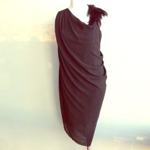 Helmut Lang Feather Black Goddess dress
