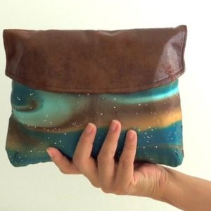 Clutches & Wallets - 🌌Multiswirl Ombré Leather & Satin Clutch🌌