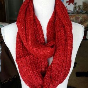 Crimson Red Sparkly Scarf