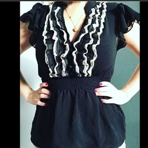 Tops - 😻Black w/Lace & Ruffles Sleeve Button top