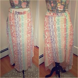 High Low Printed Sheer Skirt
