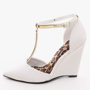 Shoes - White T-Strap Pointed Power Wedge
