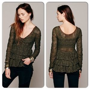 NWT Free People Sweet Dreams Ruffle Lace Top Olive