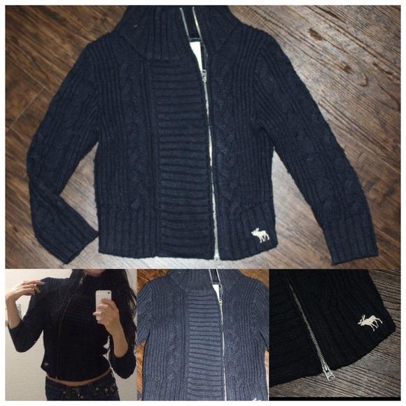 Abercrombie \u0026 Fitch Sweaters , Abercrombie navy knit asymmetrical sweater  navy