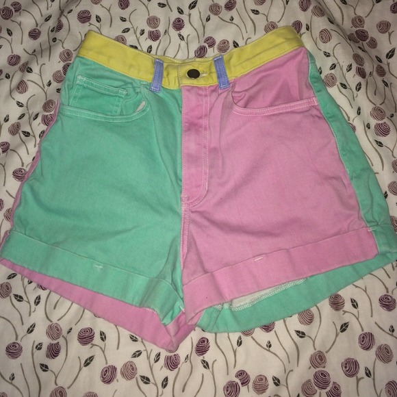 37% off American Apparel Pants - Multicolored high waisted shorts ...