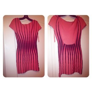 Authentic Herve Leger coral and black dress
