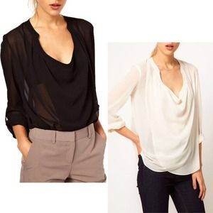 Tops - Black chiffon blouse