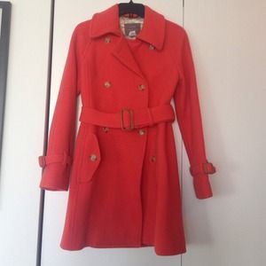 J. Crew stadium cloth Nello Gori coat, color coral