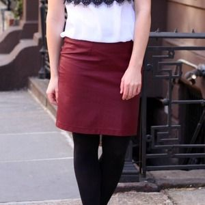 Burgundy faux leather skirt