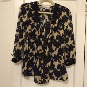 Navy and tan blouse
