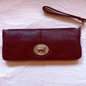 Authentic COACH brown leather clutch