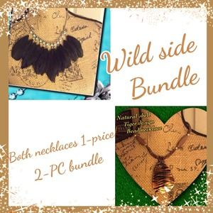 Jewelry - Feather necklace & natural shell necklace bundle