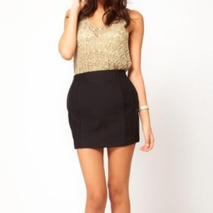 ASOS structured black mini skirt