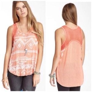 Free People High-Low Coral Tribal Tank