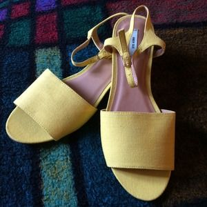 Urban Outfitters Shoes - Yellow Open Toe Wedges by Kimchi Blue