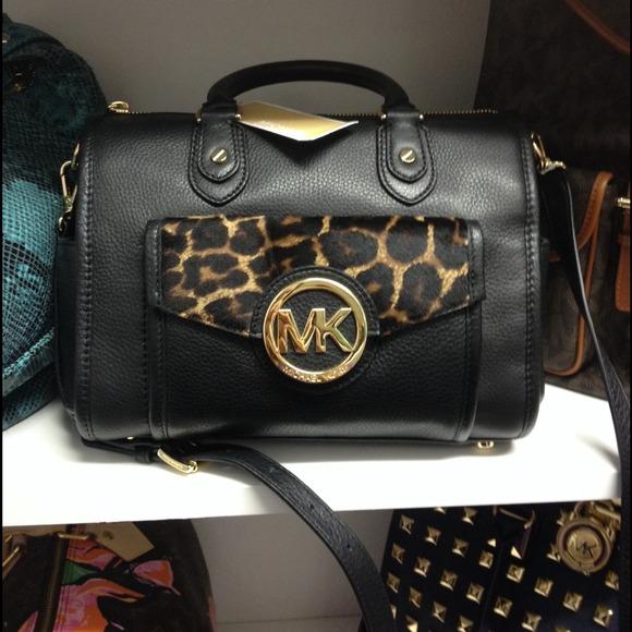 3da2e7c727ceb ... discount nwt authentic michael kors black cheetah bag f472b b663b
