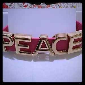 Chinese Laundry PEACE pink leather bracelet