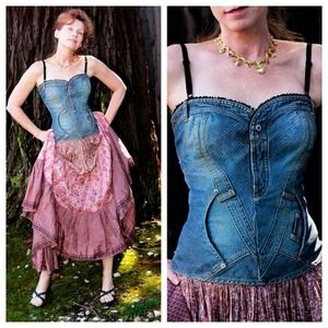 Dolce & Gabbana Tops - D & G Denim Corset Bustier - Made in Italy -wowza!