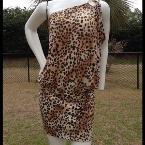 Cache, Sz Med, One shoulder Animal print Dress.