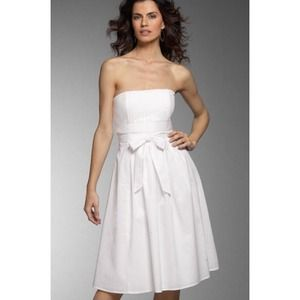 White Laundry pleated strapless dress