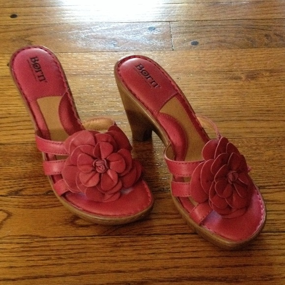Shoes Born Heeled Sandals With Pink Flower Poshmark