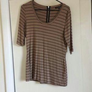 Tops - Brown and black zipper back top