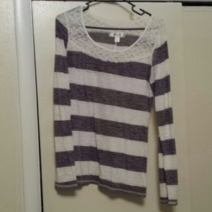 Tops - Gray and white striped top with lace detail