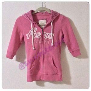 Aeropostale Tops - Pink Floral Zippered Hoodie
