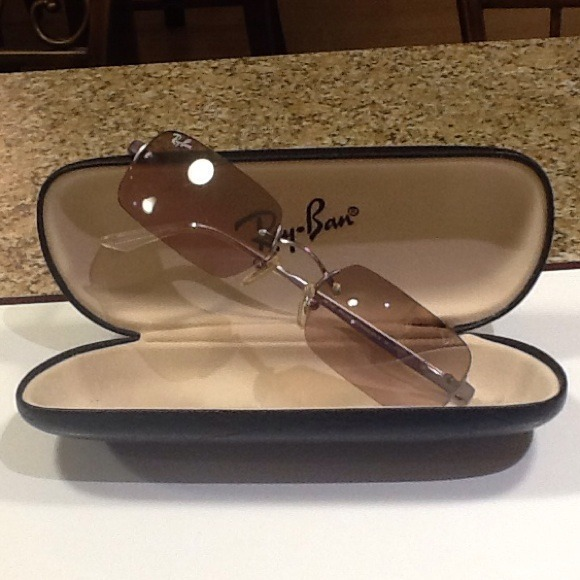 Rimless Rectangle Glasses : 25% off Ray-Ban Accessories - Ray Ban Vintage Rimless ...