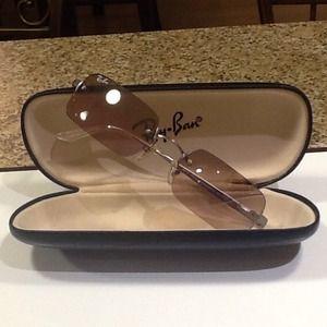 50a2cde1a8c Ray Ban Rectangular Polarized Rimless Sunglasses