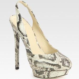 B Brian Atwood Shoes - B Brian Atwood Faran Snake Slingback Pumps 7/37