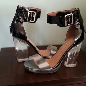 Jeffrey Campbell lucite heel sandals.