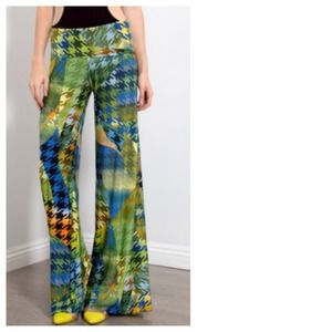 Pants - Paradise Green Blue Houndstooth Palazzo Pants