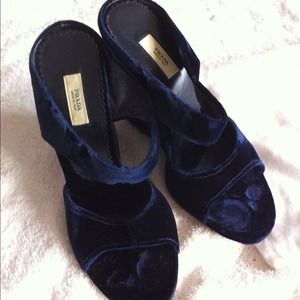 Velvet Prada wedge heels, size 36, dark royal blue
