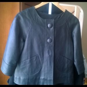 kenar Jackets & Blazers - Kenaf black leather swing jacket for Spring!