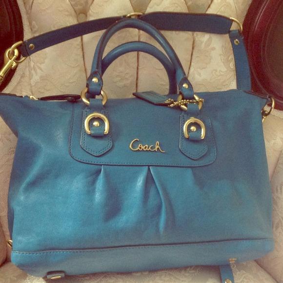 7e51698413 ebay coach medium sized teal turquoise handbag d9354 081ec