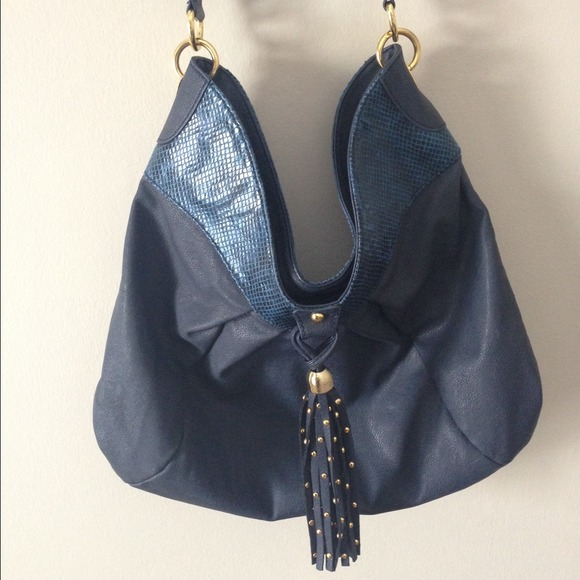 Iman Handbags - Blue and Gold Tassle Handbag