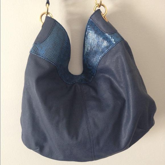 Iman Bags - Blue and Gold Tassle Handbag