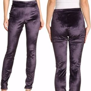 Erin Fetherston Purple Velvet Jimi Leggings
