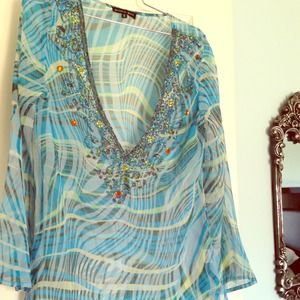 Tops - Blue Print Jeweled Chiffon Top