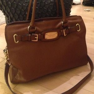 Michael Kors Cognac Leather Hamilton Handbag