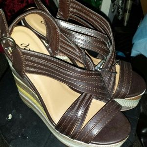 """Sexy Stripped 4 """" Wedge Heel Sandals"""