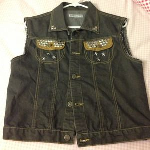 Denim - Vintage DIY studded vest